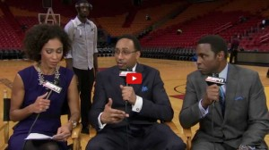 After the game, Roy Hibbert photobombs the NBA Countdown crew and later has some things to say about Stephen A. Smith's hairline