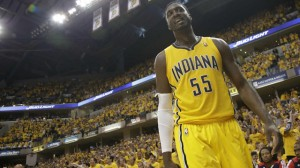 Roy Hibbert scores 13 points, grabs 7 rebounds and blocks 5 shots as the Pacers beat the Hawks 92-80 in game seven to advance to the Eastern Conference Semifinals.